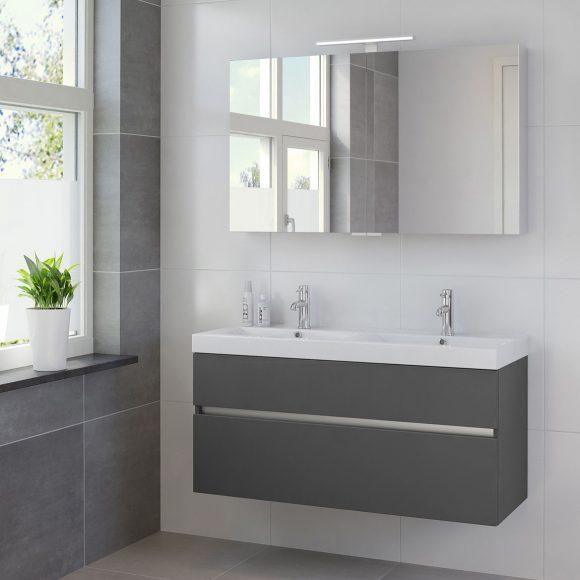 Wastafelmeubel Seatle grijs met spiegelkast en verlichting